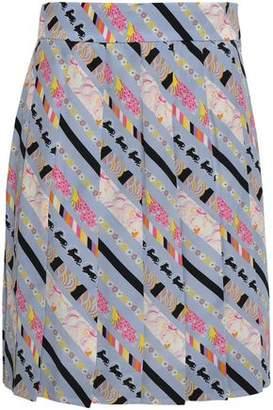 Marc Jacobs Pleated Printed Silk Crepe De Chine Mini Skirt