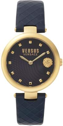 Versace Buffle Bay Stainless Steel Leather-Strap Watch