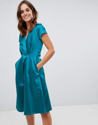 Closet London wrap pleated dress
