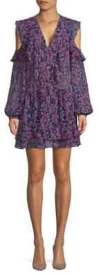 BCBGMAXAZRIA Floral Cold-Shoulder Dress
