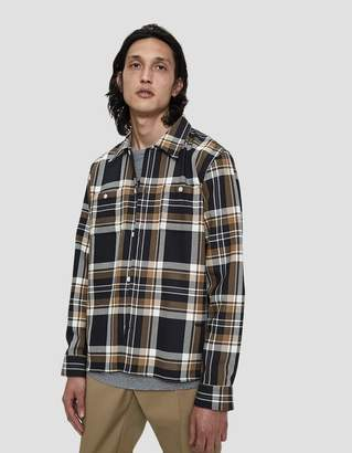 Wood Wood Franco Button Up Shirt in Khaki Check