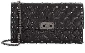 Rockstud Spike Shoulder Clutch Bag in Black and Ruthenium Split Lamb Leather Valentino RPWw0E