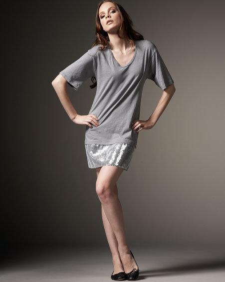 AKA NEW YORK Sequined T-Shirt Dress