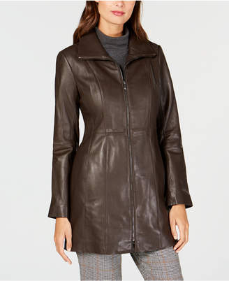 Anne Klein Point-Collar Leather Jacket
