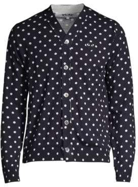 Comme des Garcons Men's Heart Polka Dot Wool Button-Down Shirt - Black - Size XL