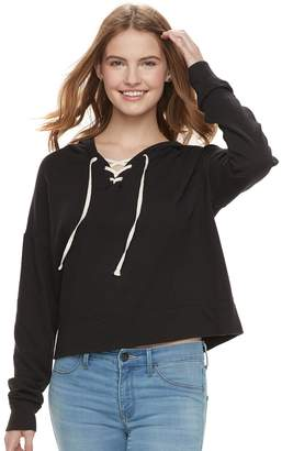 So Juniors' SO Cropped Lace-Up Hoodie
