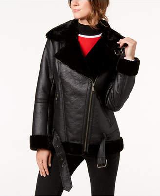 BCBGeneration Faux-Fur-Trim Moto Jacket