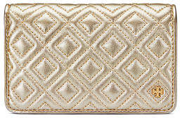 Tory Burch Fleming Medium Metallic Slim Wallet