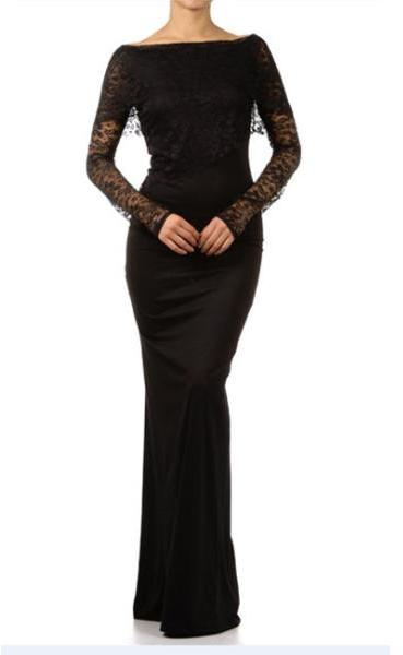 sexy diva Tabeez Women's Black Lace Top Gown