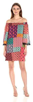 Trina Turk Women's Amaris Shangri La Patchwork Off Shoulder Dress