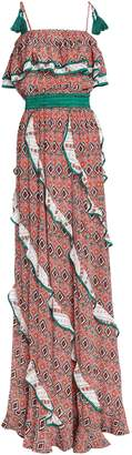 Talitha Collection Ruffle-trimmed Printed Silk Crepe De Chine Maxi Dress