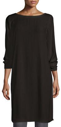 Eileen Fisher Silk Georgette Crepe Tunic, Black $318 thestylecure.com