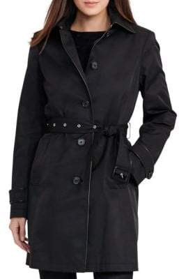 Lauren Ralph Lauren Faux-Leather-Trim Trench Coat