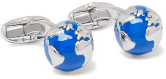 Paul Smith Globe Silver-Tone and Enamel Cufflinks - Men - Blue