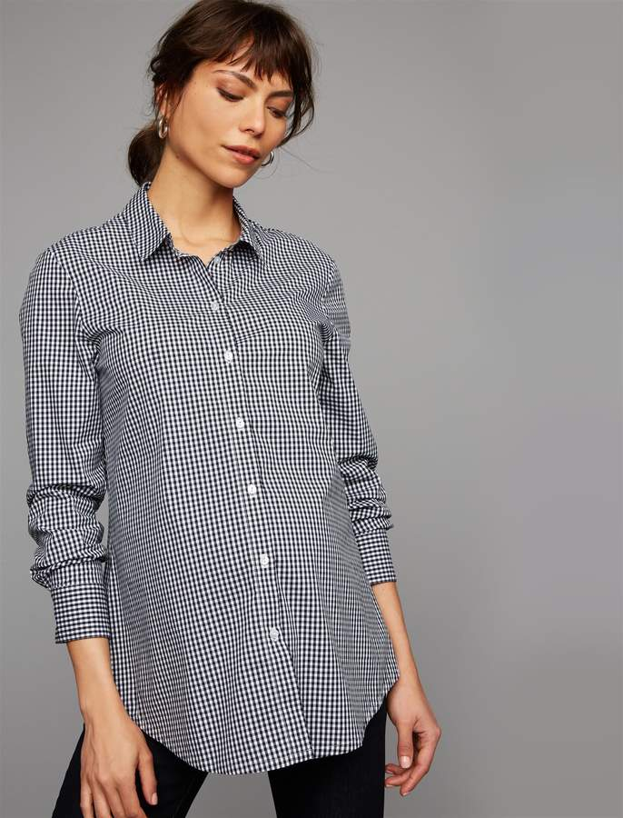 Pea Collection Isabella Oliver Gingham Button Down Maternity Shirt
