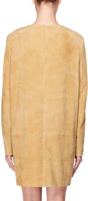 The Row Rani Crewneck Long-Sleeve Short Suede Shift Dress