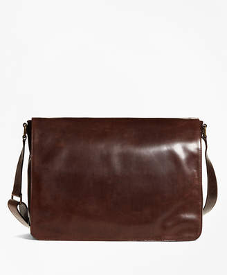 Brooks Brothers Distressed Leather Messenger