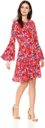 Donna Morgan Women's Floral Fit and Flare Dress with Bell Sleeve