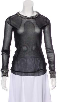 Jean Paul Gaultier Knit-Trimmed Long Sleeve Top