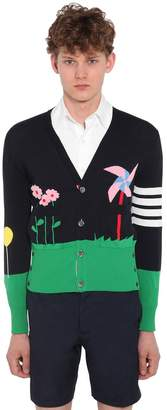 Thom Browne Garden Intarsia Cotton Knit Cardigan