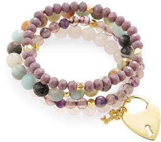 Good Charma Heart & Key Charm Set Of 4 Bracelets