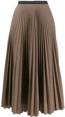 Prada checked pleated midi skirt