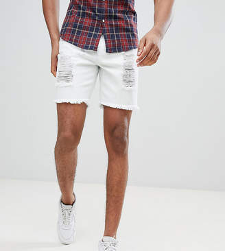 SikSilk super skinny denim shorts in white with distressing exclusive to ASOS