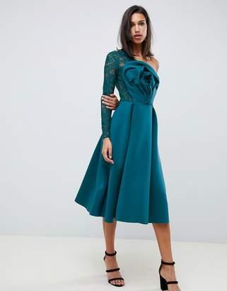 Asos Design DESIGN Lace Sleeve Origami Midi Prom Dress