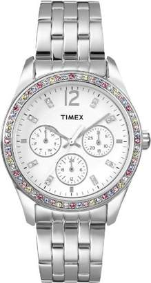 Timex Women's T2P386 Crystal Multi-Function Stainless Steel Bracelet Watch $138.95 thestylecure.com