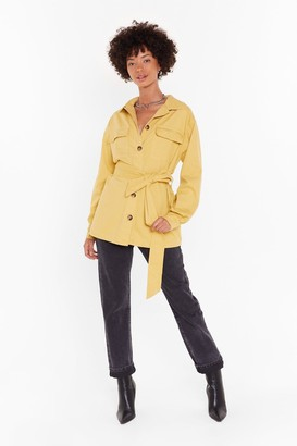 Nasty Gal Womens It'S Not Pocket Science Belted Denim Jacket - Yellow - S/M