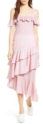 Chelsea28 Ruffle Smocked Cold Shoulder Dress