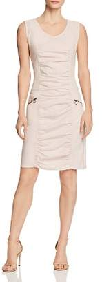 XCVI Ruched Mixed-Media Dress