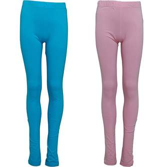 8afa64863a6 Board Angels Girls Two Pack Cotton/Elastane Leggings Pink/Turquoise