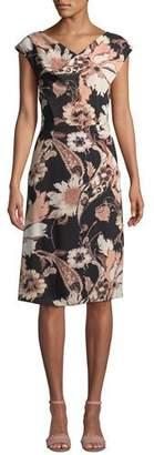 Etro V-Neck Poppy-Print Sheath Dress