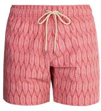 Faherty Beacon Surfboard Leaf Print Swim Shorts - Mens - Red