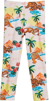 Kenzo Tiger Palm Tree Print Leggings, Size 2-4