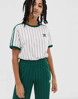 adidas tshirt in white and green stripe