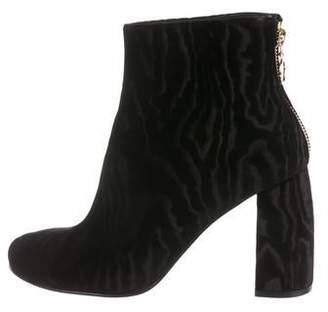Stella McCartney Velvet Round-Toe Ankle Boots