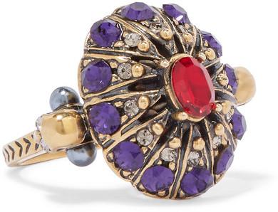 Alexander McQueenAlexander McQueen - Gold-tone Crystal Ring - 11