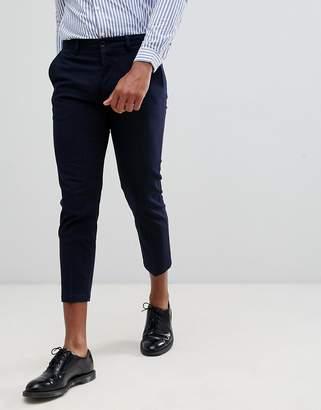 Celio cropped slim fit smart PANTS in stripe
