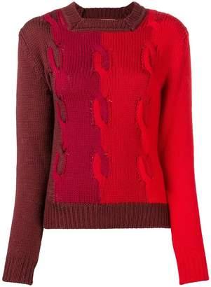 Marco De Vincenzo colour-block cable knit sweater