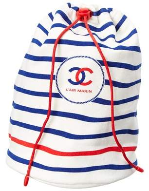 White & Navy Striped Cotton L'air Marin String Bag, Never Carried.