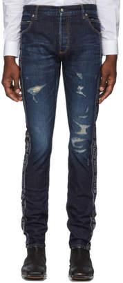 Balmain Blue Side Stripe Jeans