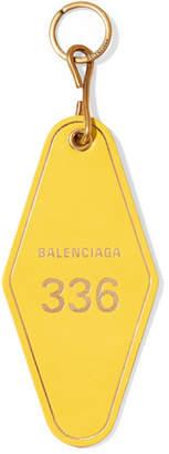 Balenciaga Hotel Printed Leather Keychain - Yellow
