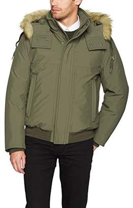Andrew Marc Men's Boerum Insulated Bomber Jacket with Removable Fur Hood