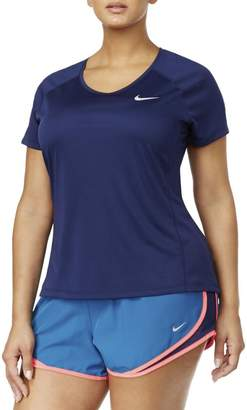 Nike Women's Plus Size Dry Miler Top (Berry,)