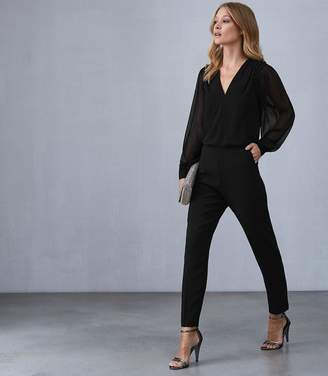 d94fe3186b8 Reiss ADELIZA BUTTON DETAIL JUMPSUIT Black