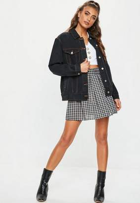 Missguided Dark Blue Contrast Stitch Oversized Denim Jacket