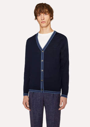 Paul Smith Men's Navy Merino Wool Cardigan With Contrast Trims