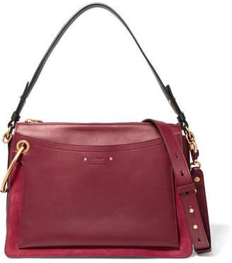 Chloé Roy Medium Leather And Suede Shoulder Bag - Burgundy